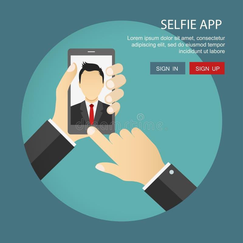 Επίπεδη απεικόνιση των εφαρμογών φωτογραφιών Selfie που πυροβολείται από το γραφείο μ διανυσματική απεικόνιση