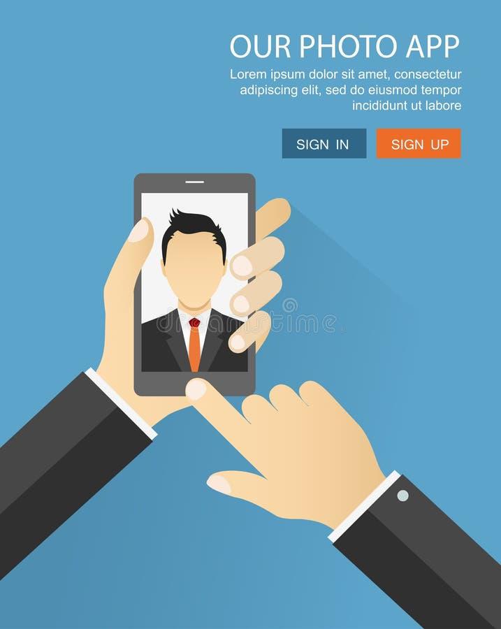Επίπεδη απεικόνιση των εφαρμογών φωτογραφιών Selfie που πυροβολείται από το γραφείο μ ελεύθερη απεικόνιση δικαιώματος