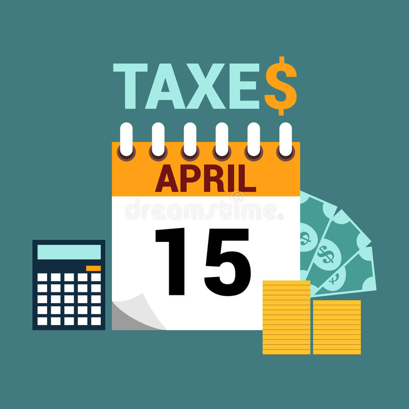 Επίπεδη απεικόνιση ύφους φορολογικής ημέρας απεικόνιση αποθεμάτων