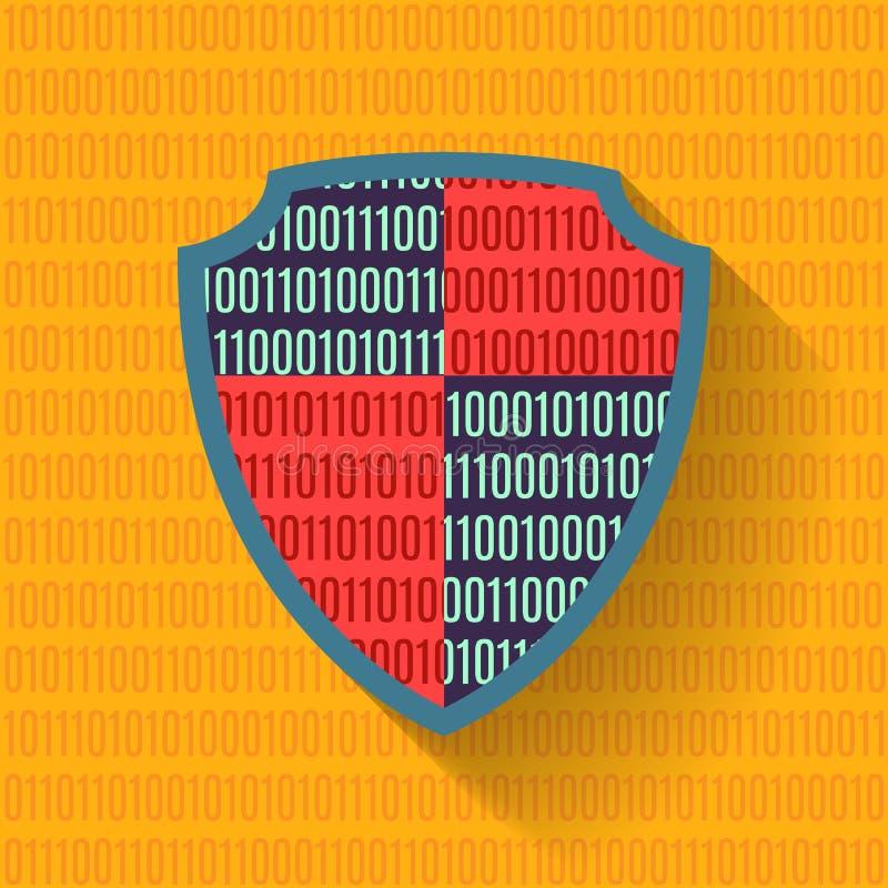 Επίπεδη ασπίδα προστασίας δεδομένων εικονιδίων ελεύθερη απεικόνιση δικαιώματος