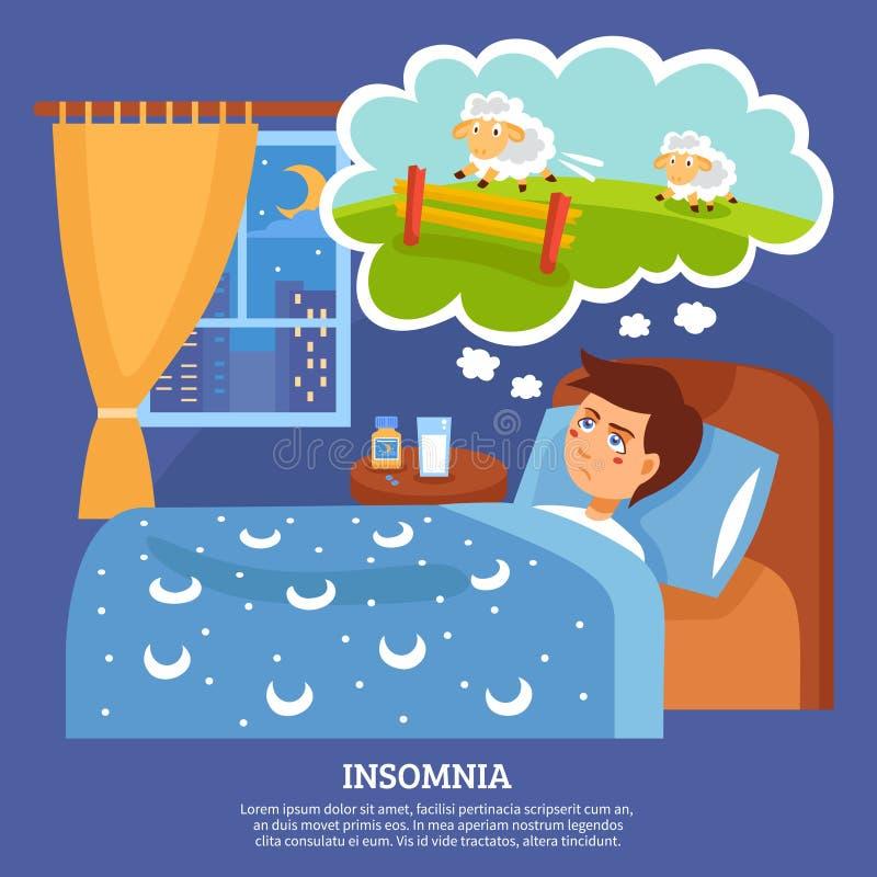 Επίπεδη αφίσα προβλημάτων ανθρώπων αϋπνίας απεικόνιση αποθεμάτων