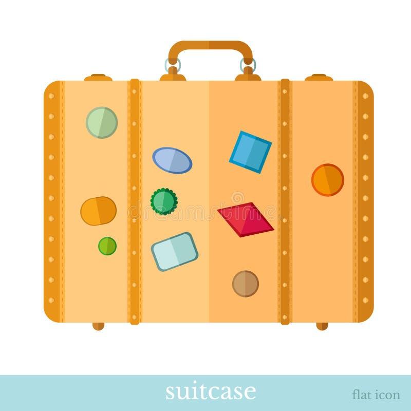 Επίπεδη βαλίτσα εικονιδίων με τις ετικέτες ελεύθερη απεικόνιση δικαιώματος