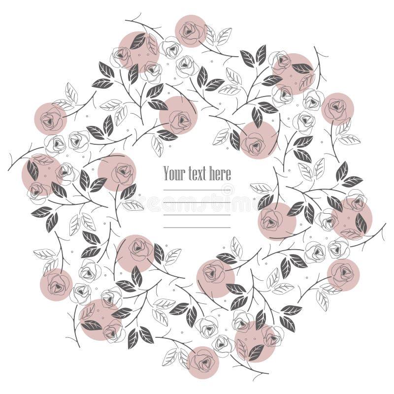 Επίπεδη γραμμή γύρω από το πλαίσιο με τα τριαντάφυλλα που απομονώνεται στο άσπρο υπόβαθρο απεικόνιση αποθεμάτων