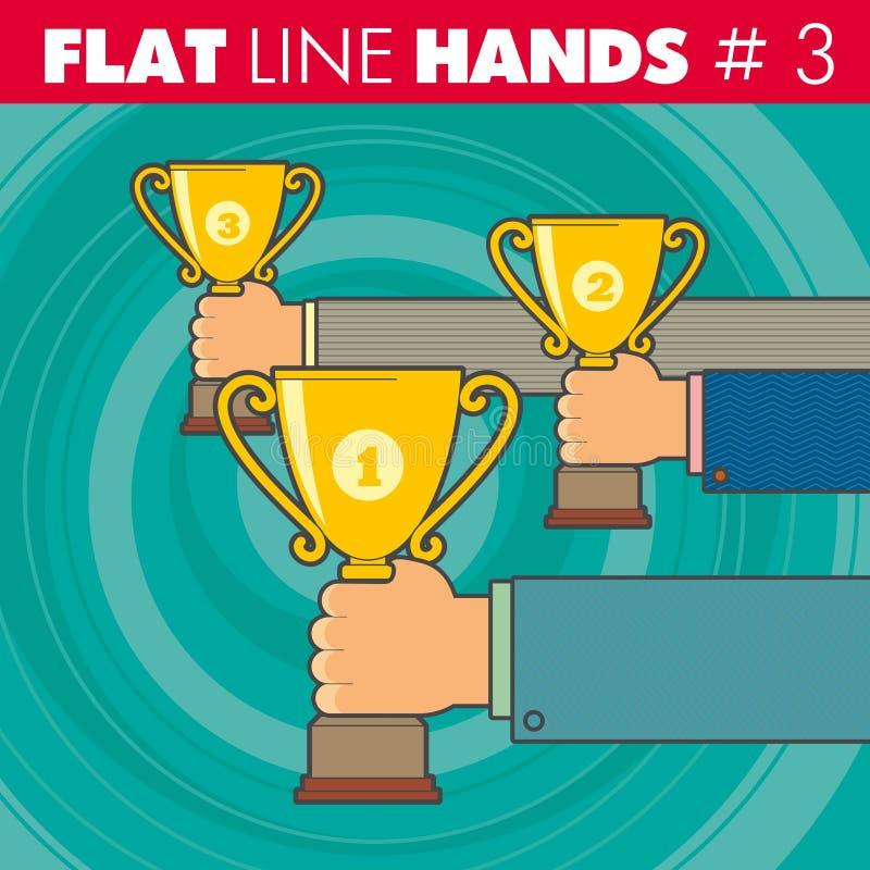 Επίπεδη γραμμή hands_3 διανυσματική απεικόνιση