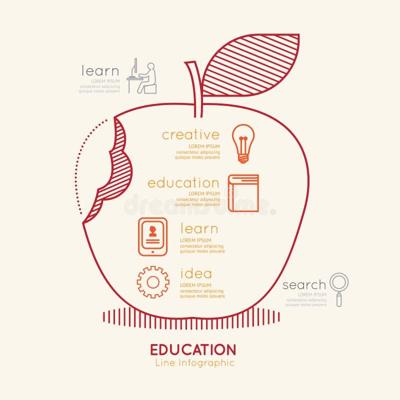 Επίπεδη γραμμική έννοια περιλήψεων της Apple εκπαίδευσης Infographic διάνυσμα διανυσματική απεικόνιση