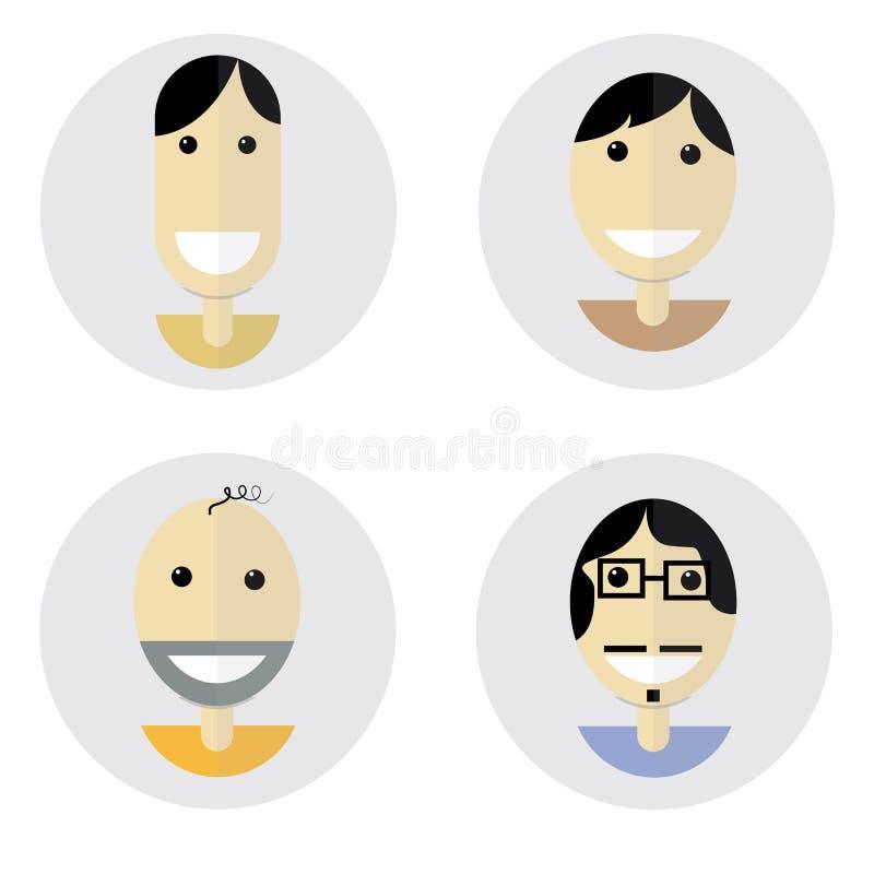Επίπεδη ευτυχής διάθεση προσώπων σχεδιασμού διανυσματική απεικόνιση