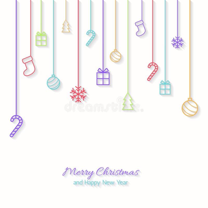 Download Επίπεδη ευχετήρια κάρτα Χριστουγέννων Απεικόνιση αποθεμάτων - εικονογραφία από βακκινίων, εικονίδιο: 62717694