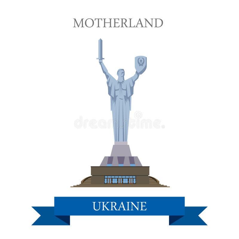Επίπεδη διανυσματική έλξη Kyiv Κίεβο Ουκρανία μνημείων μητέρας πατρίδας απεικόνιση αποθεμάτων
