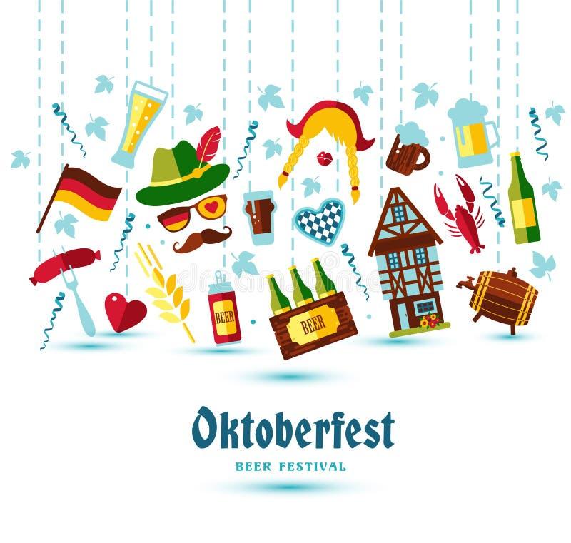 Επίπεδη διανυσματική απεικόνιση σχεδίου με τα πιό oktoberfest σύμβολα απεικόνιση αποθεμάτων