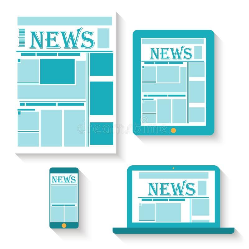 Επίπεδη διανυσματική απεικόνιση σχεδίου της εφημερίδας επάνω διανυσματική απεικόνιση