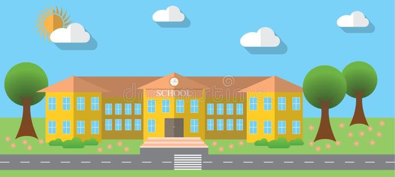 Επίπεδη διανυσματική απεικόνιση σχεδίου του σχολικού κτιρίου στο επίπεδο ύφος σχεδίου, διανυσματική απεικόνιση απεικόνιση αποθεμάτων