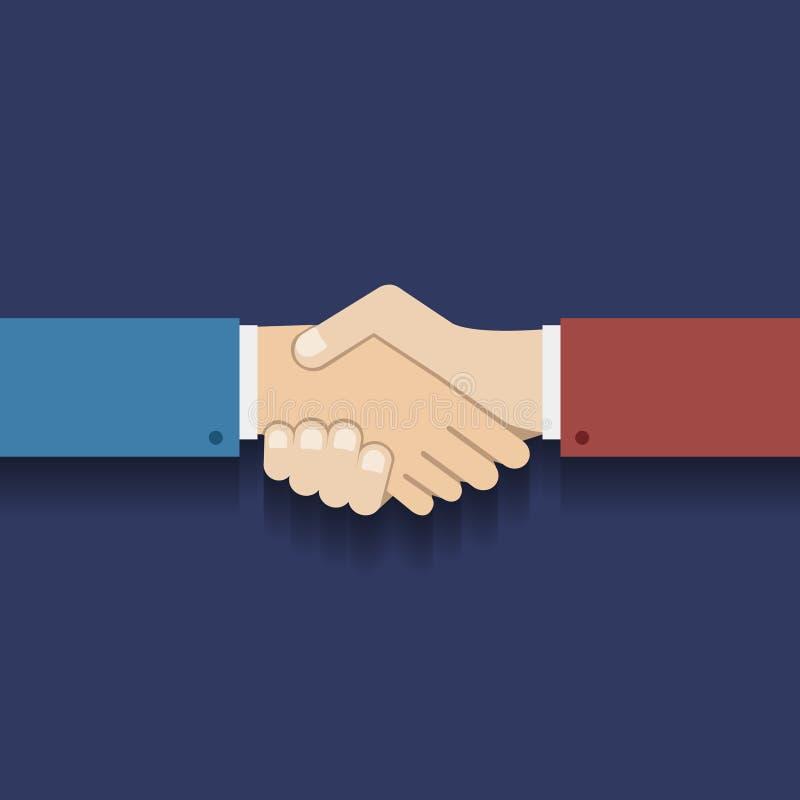 Επίπεδη διανυσματική απεικόνιση χειραψιών επιχειρηματιών συμβόλων συνεργασίας σχεδίου απεικόνιση αποθεμάτων
