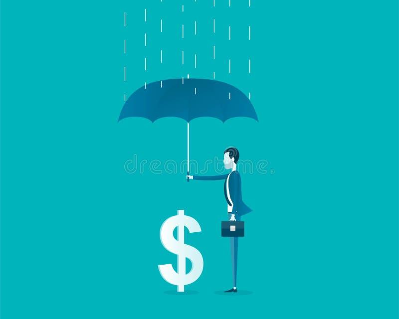 Επίπεδη διανυσματική επιχείρηση οικονομική και έννοια προστασίας χρημάτων ελεύθερη απεικόνιση δικαιώματος
