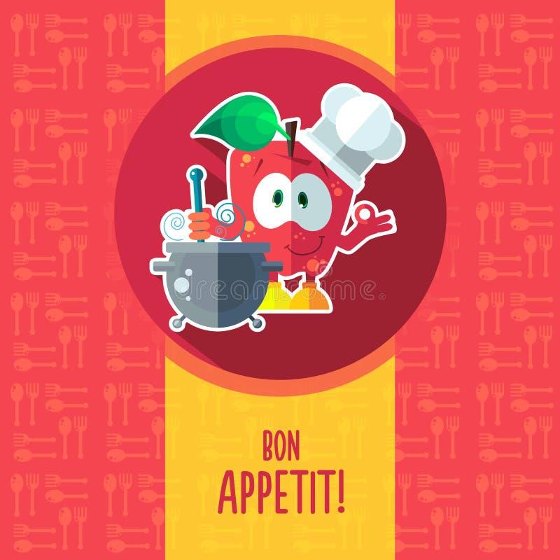 Επίπεδη διανυσματική κάρτα με το μήλο και το σκεύος για την κουζίνα κινούμενων σχεδίων αρχιμαγείρων διανυσματική απεικόνιση