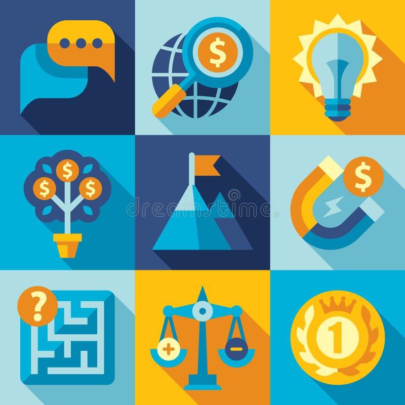 Επίπεδη διανυσματική στρατηγική σχεδίου, στόχος, ανάπτυξη απεικόνιση αποθεμάτων