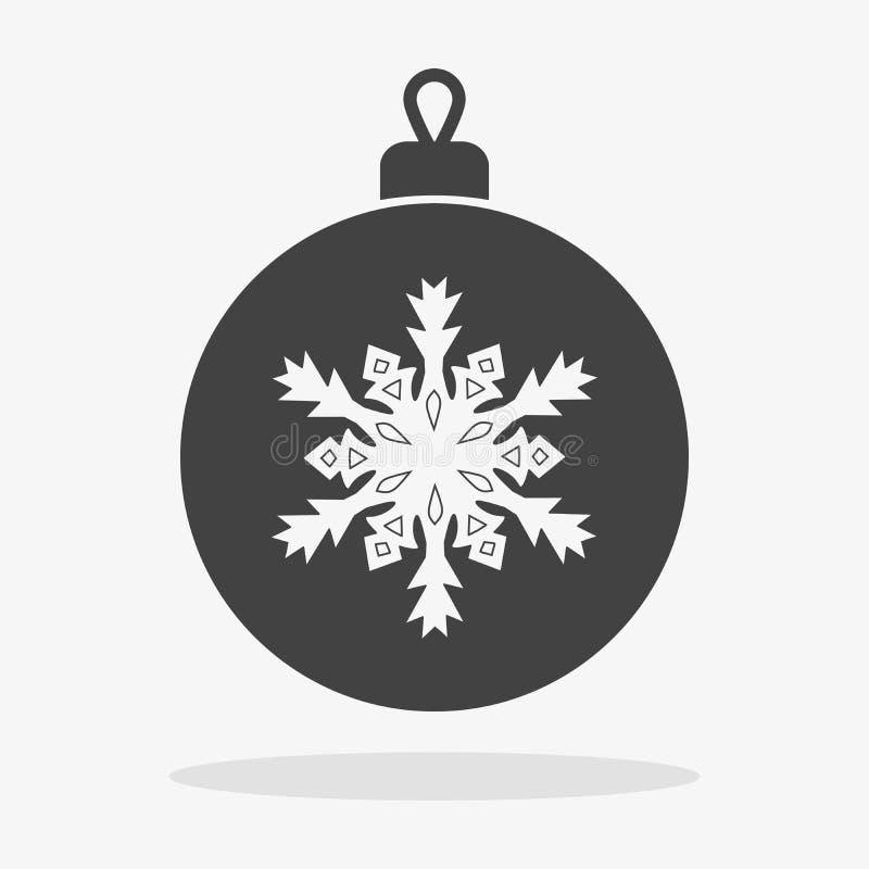 Επίπεδη διανυσματική σφαίρα Χριστουγέννων εικονιδίων απεικόνιση αποθεμάτων