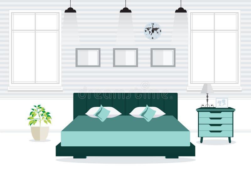 Επίπεδη διπλή κρεβατοκάμαρα σχεδίου με τα έπιπλα ελεύθερη απεικόνιση δικαιώματος