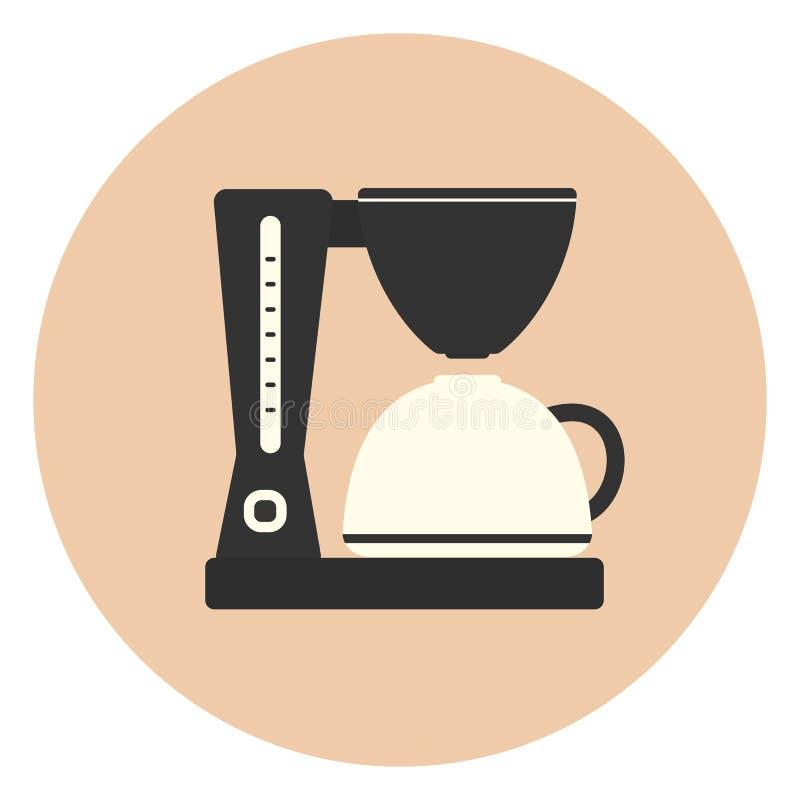 Επίπεδη μηχανή κατασκευαστών καφέ, συσκευή κουζινών καφέδων διανυσματική απεικόνιση