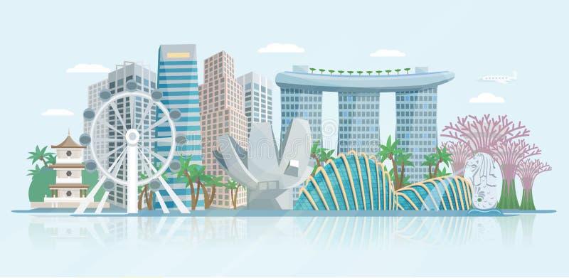 Επίπεδη πανοραμική αφίσα άποψης οριζόντων της Σιγκαπούρης διανυσματική απεικόνιση