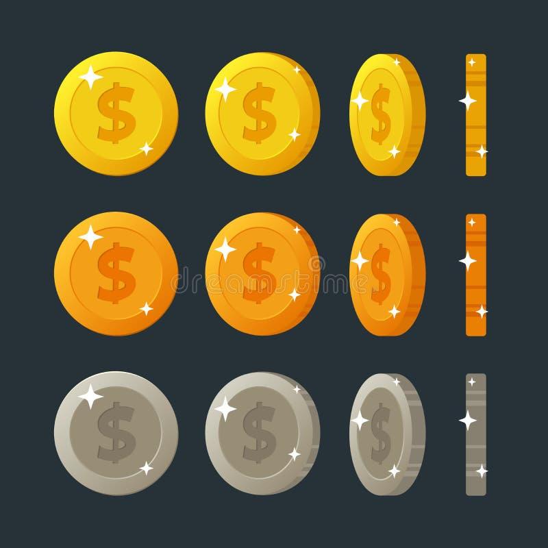 Επίπεδη περιστροφή νομισμάτων χρυσών, ασημένιων και κινούμενων σχεδίων χαλκού για τη διεπαφή Ιστού ή παιχνιδιών Απεικόνιση που απ ελεύθερη απεικόνιση δικαιώματος