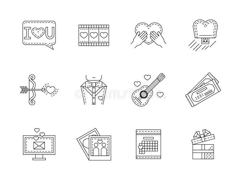 Επίπεδη συλλογή εικονιδίων γραμμών αγάπης διανυσματική απεικόνιση
