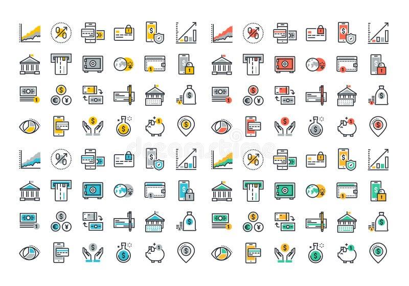 Επίπεδη συλλογή εικονιδίων γραμμών ζωηρόχρωμη των τραπεζικών εργασιών και των ε-τραπεζικών εργασιών ελεύθερη απεικόνιση δικαιώματος