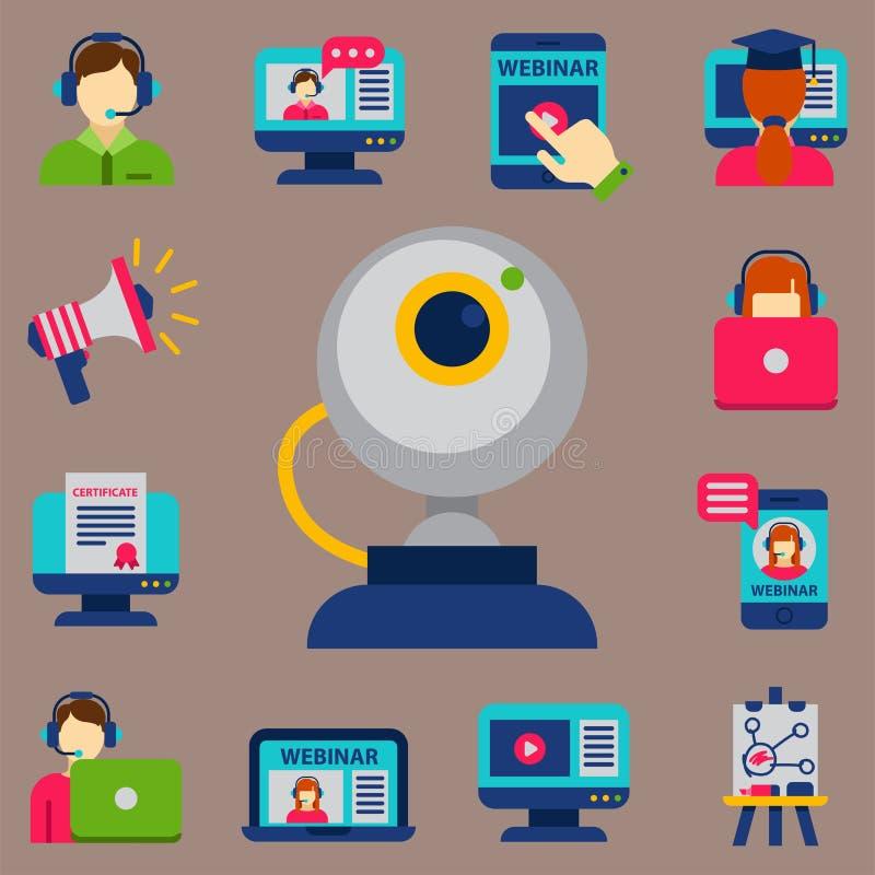 Επίπεδη σχεδίου εικονιδίων σε απευθείας σύνδεση εκπαίδευσης προσωπικού κατάρτισης βιβλίων διανυσματική απεικόνιση γνώσης εκμάθηση διανυσματική απεικόνιση
