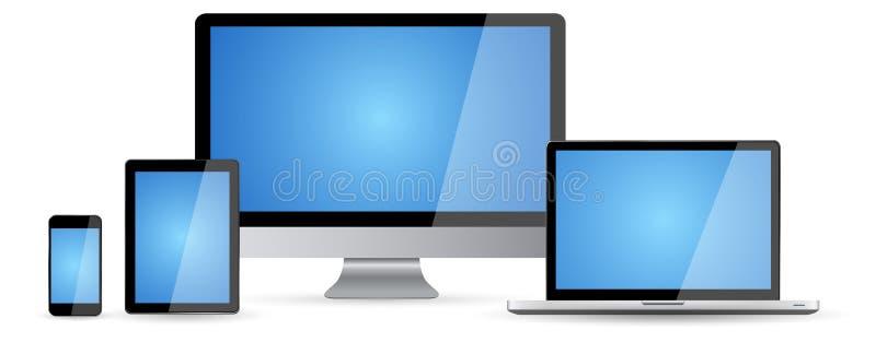 Επίπεδη σχεδίου συσκευή τεχνολογίας συλλογής σύγχρονη ψηφιακή ελεύθερη απεικόνιση δικαιώματος