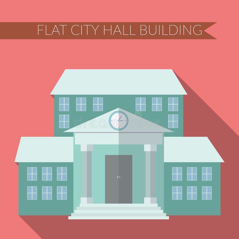 Επίπεδη σύγχρονη διανυσματική απεικόνιση σχεδίου του εικονιδίου οικοδόμησης αιθουσών πόλεων, με τη μακριά σκιά στο υπόβαθρο χρώμα απεικόνιση αποθεμάτων