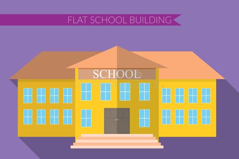 Επίπεδη σύγχρονη διανυσματική απεικόνιση σχεδίου του συνόλου εικονιδίων σχολικού κτιρίου, με τη μακριά σκιά στο υπόβαθρο χρώματος ελεύθερη απεικόνιση δικαιώματος