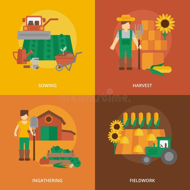 Επίπεδη σύνθεση εικονιδίων εδάφους της Farmer διανυσματική απεικόνιση