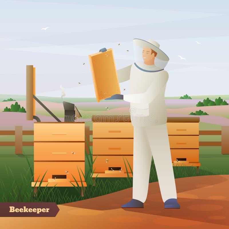 Επίπεδη σύνθεση μελισσοκόμων απεικόνιση αποθεμάτων