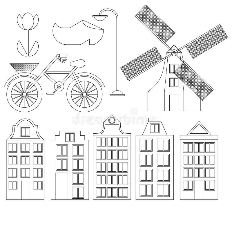 Επίπεδη τέχνη γραμμών πόλεων του Άμστερνταμ Ορόσημο ταξιδιού, αρχιτεκτονική ολλανδικά, Ολλανδία σπίτια, ευρωπαϊκό κτήριο που απομ ελεύθερη απεικόνιση δικαιώματος
