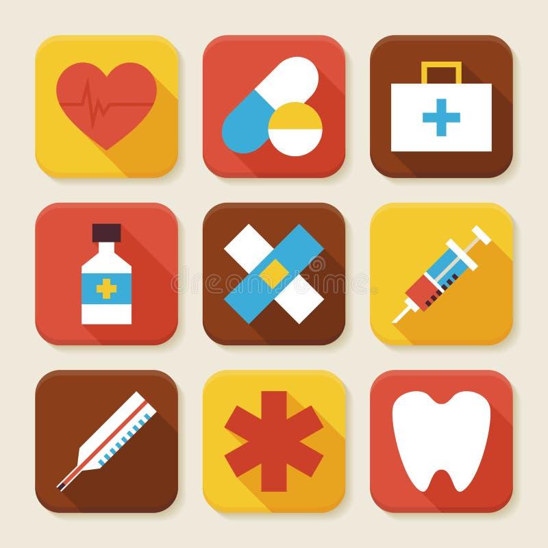 Επίπεδη υγεία και τακτοποιημένα ιατρική App εικονίδια καθορισμένες απεικόνιση αποθεμάτων