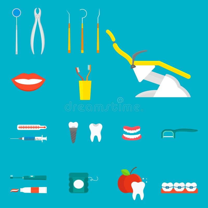 Επίπεδη υγειονομικής περίθαλψης διανυσματική απεικόνιση στοματολογίας υγιεινής οργάνων ιατρικής εργαλείων οδοντιάτρων ιατρική διανυσματική απεικόνιση