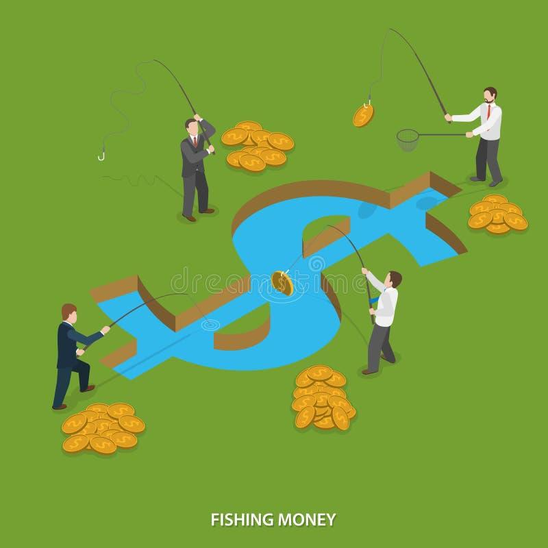 Επίπεδη isometric διανυσματική έννοια χρημάτων αλιείας διανυσματική απεικόνιση