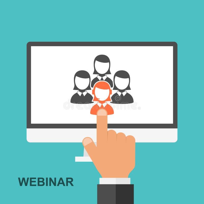 Επίπεδη webinar έννοια σχεδίου εκπαίδευση on-line διανυσματική απεικόνιση