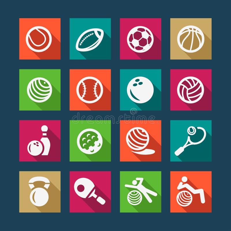 Επίπεδοι αθλητισμός και fitnes εικονίδια καθορισμένοι διανυσματική απεικόνιση