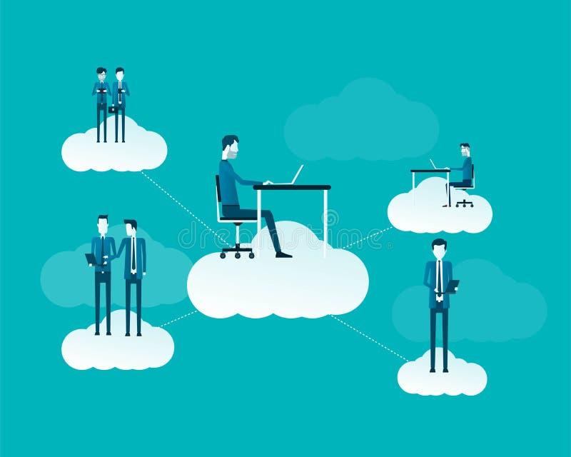 Επίπεδοι διανυσματικοί επιχειρηματίες που εργάζονται στην έννοια σύννεφων απεικόνιση αποθεμάτων