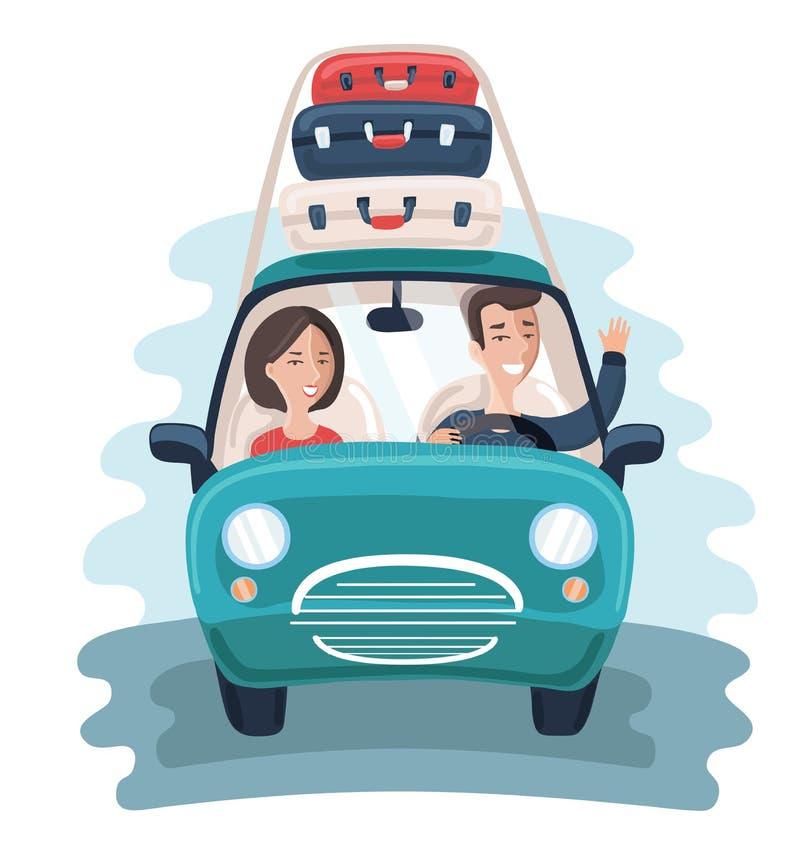 Επίπεδοι νέοι ταξιδιώτες Αυτοκίνητο με πολλές τσάντες στο υπόβαθρο ζωηρόχρωμο έννοιας διάνυσμα διακοπών απεικόνισης χαλαρώνοντας απεικόνιση αποθεμάτων