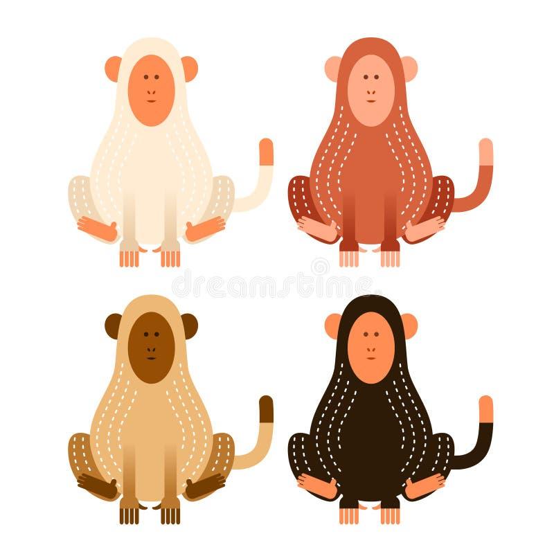 Επίπεδοι πίθηκοι κινούμενων σχεδίων ελεύθερη απεικόνιση δικαιώματος