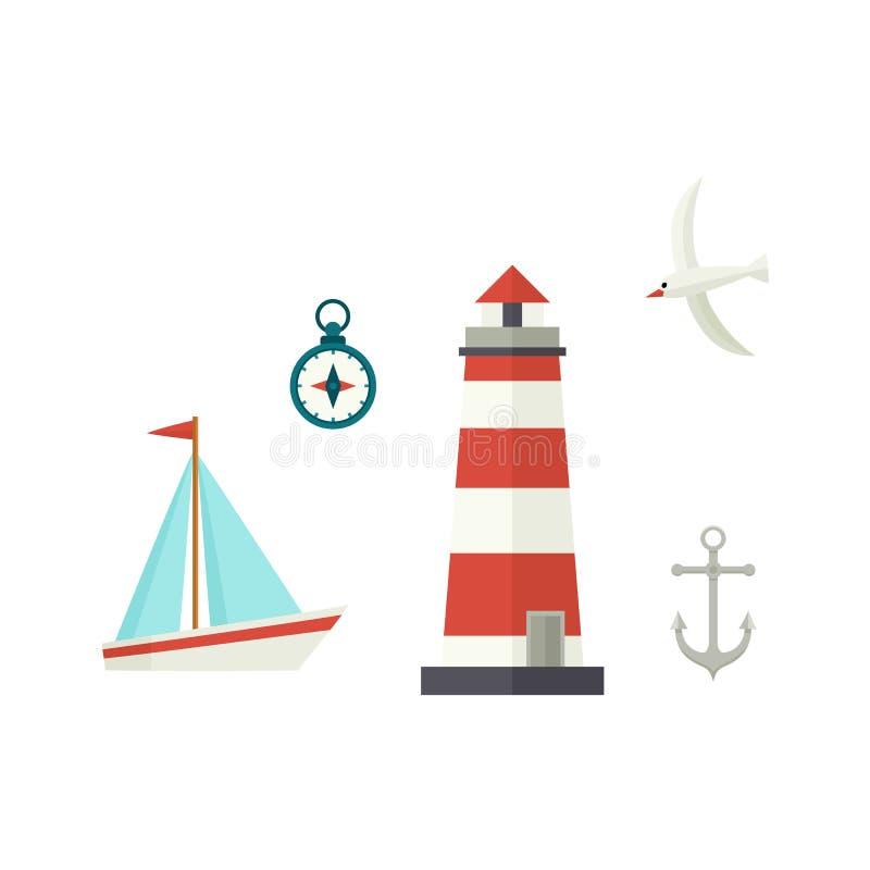 Επίπεδοι σκάφος, φάρος, πυξίδα, άγκυρα και seagull απεικόνιση αποθεμάτων