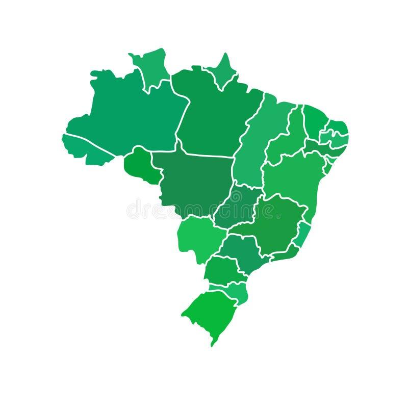 Επίπεδος απλός χάρτης της Βραζιλίας διανυσματική απεικόνιση