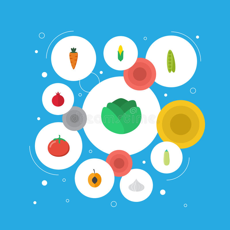 Επίπεδος αραβόσιτος εικονιδίων, νεκταρίνι, κρεμμύδι και άλλα διανυσματικά στοιχεία Σύνολο επίπεδων συμβόλων εικονιδίων επιδορπίων απεικόνιση αποθεμάτων