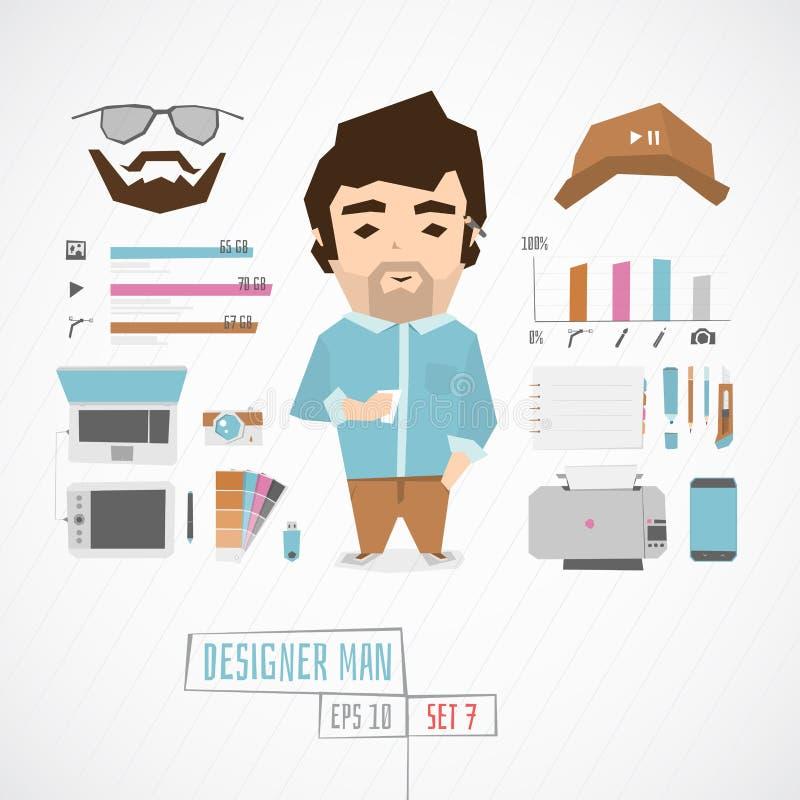 Επίπεδος αστείος σχεδιαστής charatcer απεικόνιση αποθεμάτων