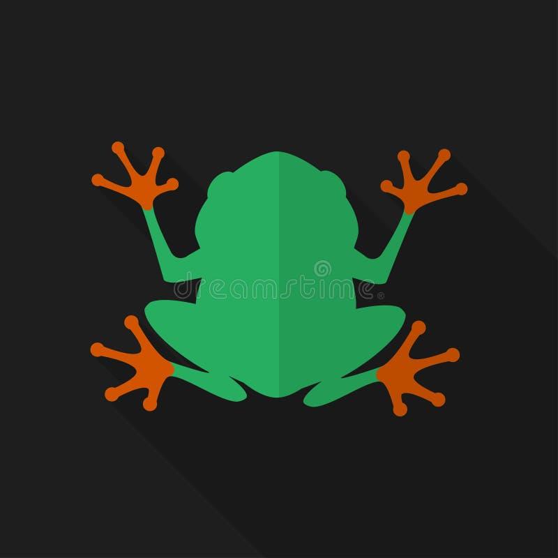 Επίπεδος βάτραχος με τη μακριά σκιά διάνυσμα εικονιδίων εργαλείων απεικόνιση αποθεμάτων