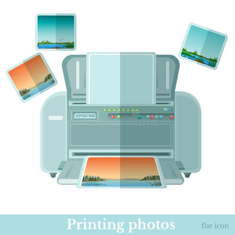 Επίπεδος εκτυπωτής φωτογραφιών με το εικονίδιο photoe που απομονώνεται ελεύθερη απεικόνιση δικαιώματος