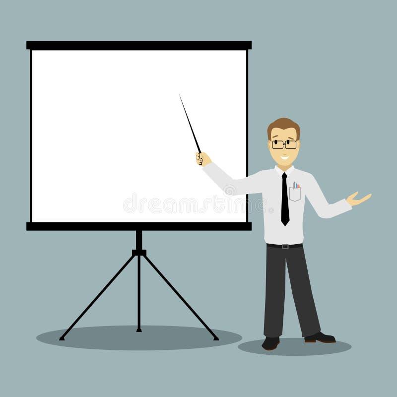 Επίπεδος επιχειρηματίας σχεδίου που δείχνει την παρουσίαση διανυσματική απεικόνιση