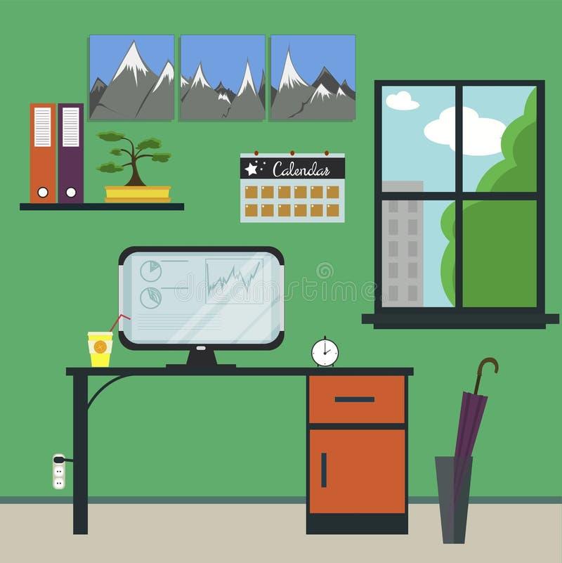 Επίπεδος εργασιακός χώρος με τον υπολογιστή ελεύθερη απεικόνιση δικαιώματος