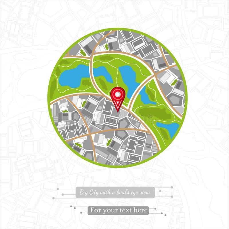 Επίπεδος διανυσματικός χάρτης υποβάθρου με την πόλης τοπ άποψη εμβλημάτων χρώματος κύκλων με τις καρφίτσες και τους δείκτες ελεύθερη απεικόνιση δικαιώματος